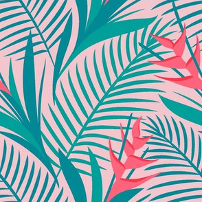 Tropical Flowers Green&Pink
