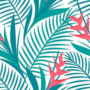 Tropical Flowers Green&White