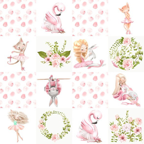 "18"" Ballett Dance - Little Ballerinas and Cute Animals Patchwork on white"