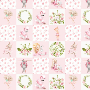 small Ballett Dance - Little Ballerinas and Cute Animals Patchwork - baby girls quilt cheater quilt fabric - spring animals flower fabric, baby fabric, cheater quilt fabric