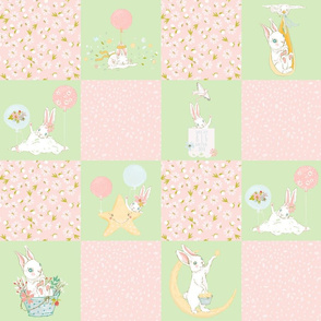 "18"" Spring is in the air - Little Bunnies and Cute Florals Patchwork - baby girls quilt cheater quilt fabric - spring animals flower fabric, baby fabric, cheater quilt fabric"