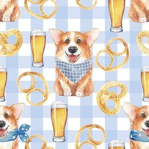 "6""  cute welsh cardigan corgi celebrating oktoberfest with beer and pretzel adorable painted corgis design corgi lovers will adore this lovely fabric"