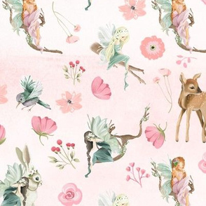 "18"" Woodland Fairies and Animals on pink blush watercolor background"