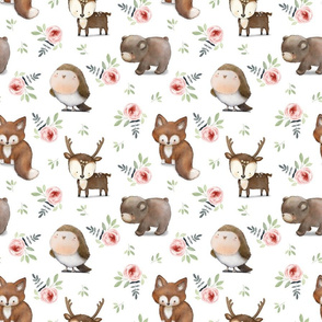 """9"""" Baby Woodland Animals And Rose Flowers white"""