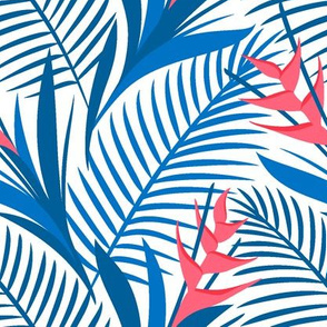 Tropical Flowers Blue&White