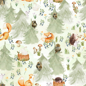 "18"" Woodland Animals in Forest, Owl and Fox,Mouse and Hedgehog, Woodland fabric, woodland animals fabric white"