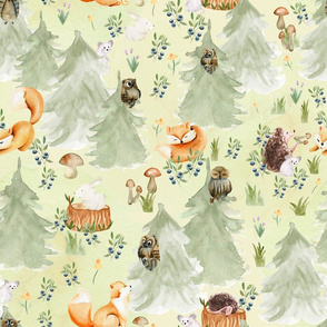 """18"""" Woodland Animals in Forest, Owl and Fox,Mouse and Hedgehog, Woodland fabric, woodland animals fabric dark"""