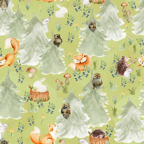 """18"""" Woodland Animals in Forest, Owl and Fox,Mouse and Hedgehog, Woodland fabric, woodland animals fabric dark green"""