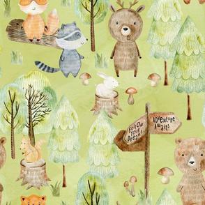 """18"""" Woodland Adventure Awaits - Deer Bear Fox Raccoon - Woodland fabric, woodland animals fabric dark green"""