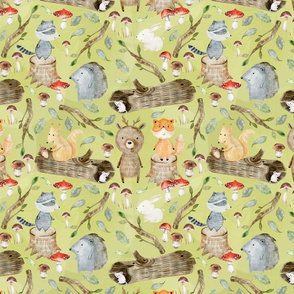 """18"""" Woodland Adventure Fun - Deer Bear Fox Raccoon Hedgehog- Woodland fabric, woodland animals fabric dark green"""