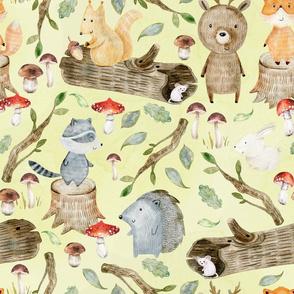 """18"""" Woodland Adventure Fun - Deer Bear Fox Raccoon Hedgehog- Woodland fabric, woodland animals fabric dark"""