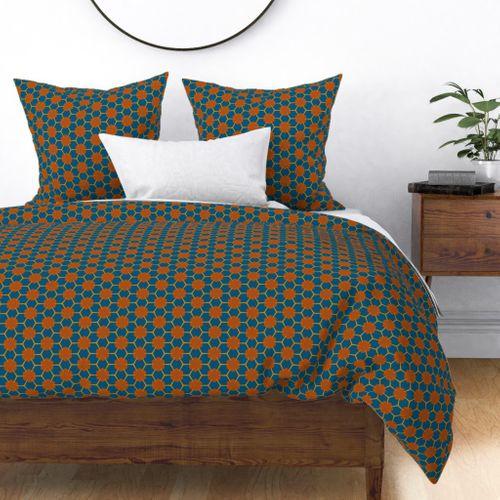 Fabric by the Yard Yukibishi (Deep Teal Blue and Tan)