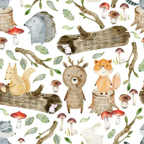 "18"" Woodland Adventure Fun - Deer Bear Fox Raccoon Hedgehog- Woodland fabric, woodland animals fabric white"