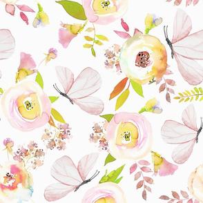 "18"" Moths dancing around watercolor flowers"