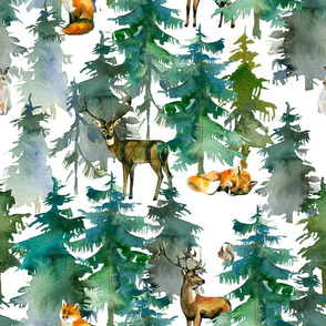 "13"" woodland trees with forest animals"