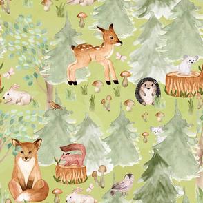 "18"" Woodland Adventure Awaits - Deer Fox Hedgehog Mice and Bunny - Woodland fabric, woodland animals fabric dark green"