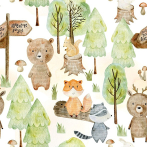 "18"" Woodland Adventure Awaits - Deer Bear Fox Raccoon - Woodland fabric, woodland animals fabric light"