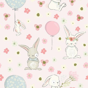"9"" Spring is in the air- Little Bunnies and Cute Florals - baby girls fabric - spring animals flower fabric, baby fabric"
