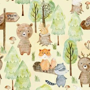"""18"""" Woodland Adventure Awaits - Deer Bear Fox Raccoon - Woodland fabric, woodland animals fabric dark"""