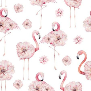 Watercolor Hand drawn Flower Flamingos  white