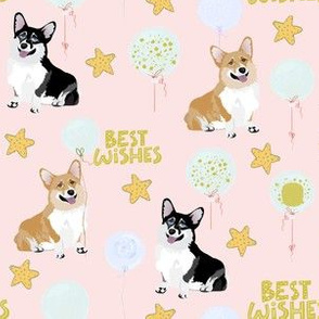 "6"" cute black and tan welsh cardigan corgi birthday best wishes adorable painted corgis design corgi lovers will adore this pink fabric"