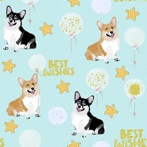 "6"" cute black and tan welsh cardigan corgi birthday best wishes adorable painted corgis design corgi lovers will adore this blue fabric"