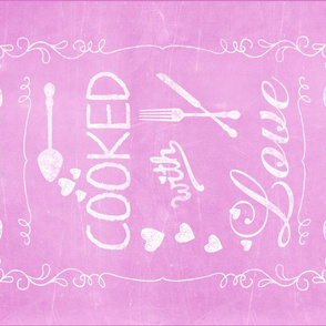 Pink Cooked With Love Quote Teatowel