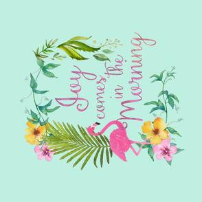 Joy Comes In The Morining Flamingo Teatowel