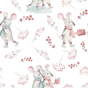 "9"" Winter Fun with little Mice - Hand drawn watercolor woodland pattern  2"