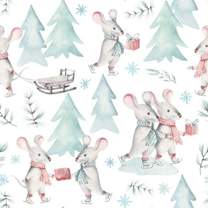 """9"""" Winter Fun with little Mice - Hand drawn watercolor woodland pattern  1"""