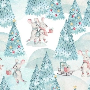 """9"""" Winter Fun with little Mice - Hand drawn watercolor woodland pattern"""