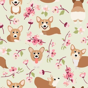 "9"" Corgi in spring florals fabric, cherry blossom sakura in asia , green"