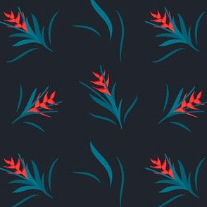 Heliconia Flower Green&Black