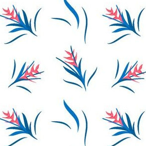 Heliconia Flower Blue&White