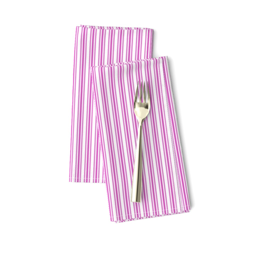 Amarela Dinner Napkins featuring Classic Small Pink Fuchsia Pastel Pink French Mattress Ticking Double Stripes by paper_and_frill