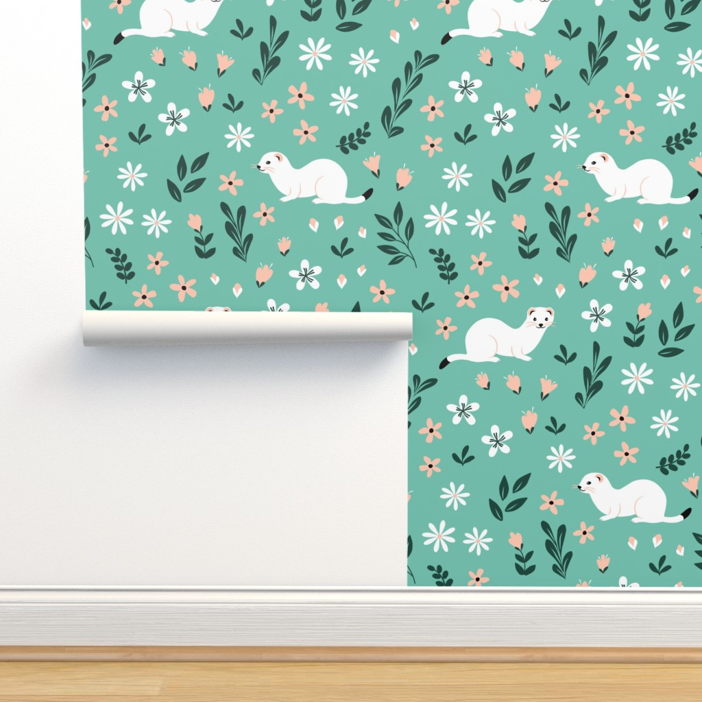 Isobar Durable Wallpaper featuring Ermines in flowers on mint by nadyabasos