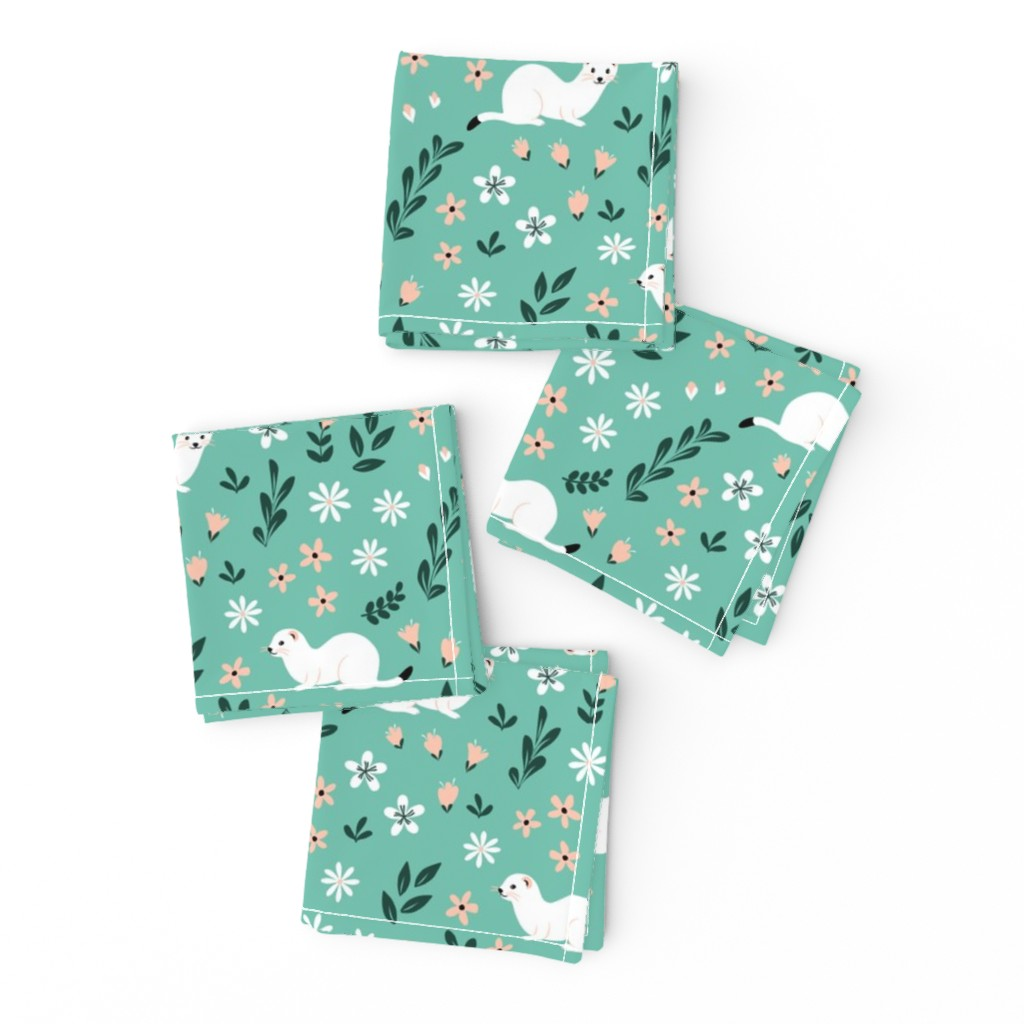 Frizzle Cocktail Napkins featuring Ermines in flowers on mint by nadyabasos