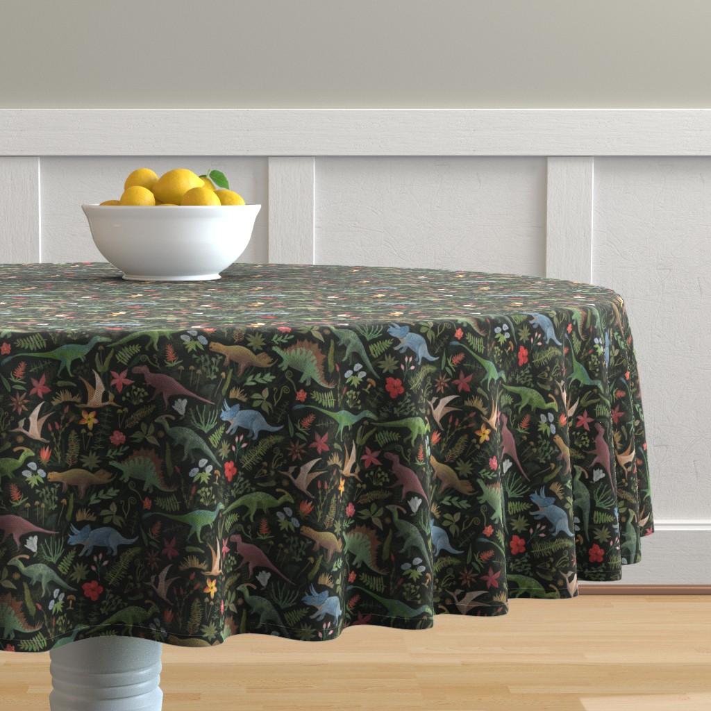 Malay Round Tablecloth featuring Dinosaur Jungle by dasbrooklyn