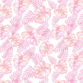 coral pink watercolor monstera