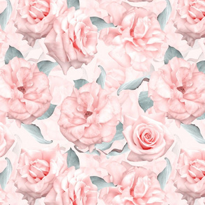 """14"""" Pastel Real Springflower Roses Pattern - multiple Layers"""