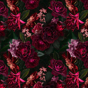 "12"" Vintage Night Roses Black"