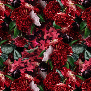 14 Lush  antique roses and peonies double layer