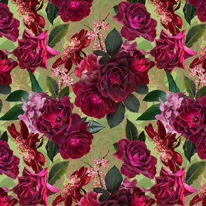 "12"" Vintage Night Roses Green"
