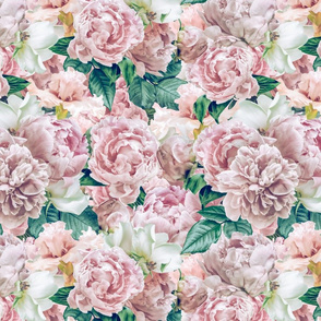 """14"""" Pastel Real Springflower Peony Pattern - Sepia multiple Layers"""