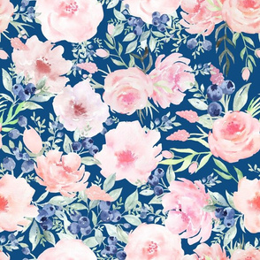 """21"""" Hand drawn watercolor florals and blueberries on classic blue - trend 2020"""
