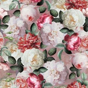 """18""""  Antique Jan Davidsz. de Heem Lush Roses Flowers On Mauve"""