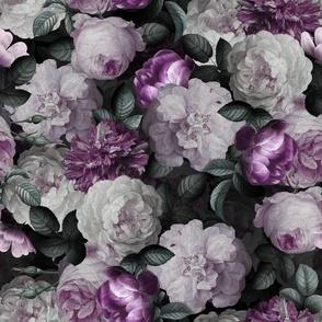 """18""""  Antique Jan Davidsz. de Heem Lush Roses Flowers On Black"""