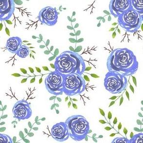 Magical blue roses watercolor