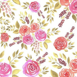 watercolor roses and leaves in warm colors