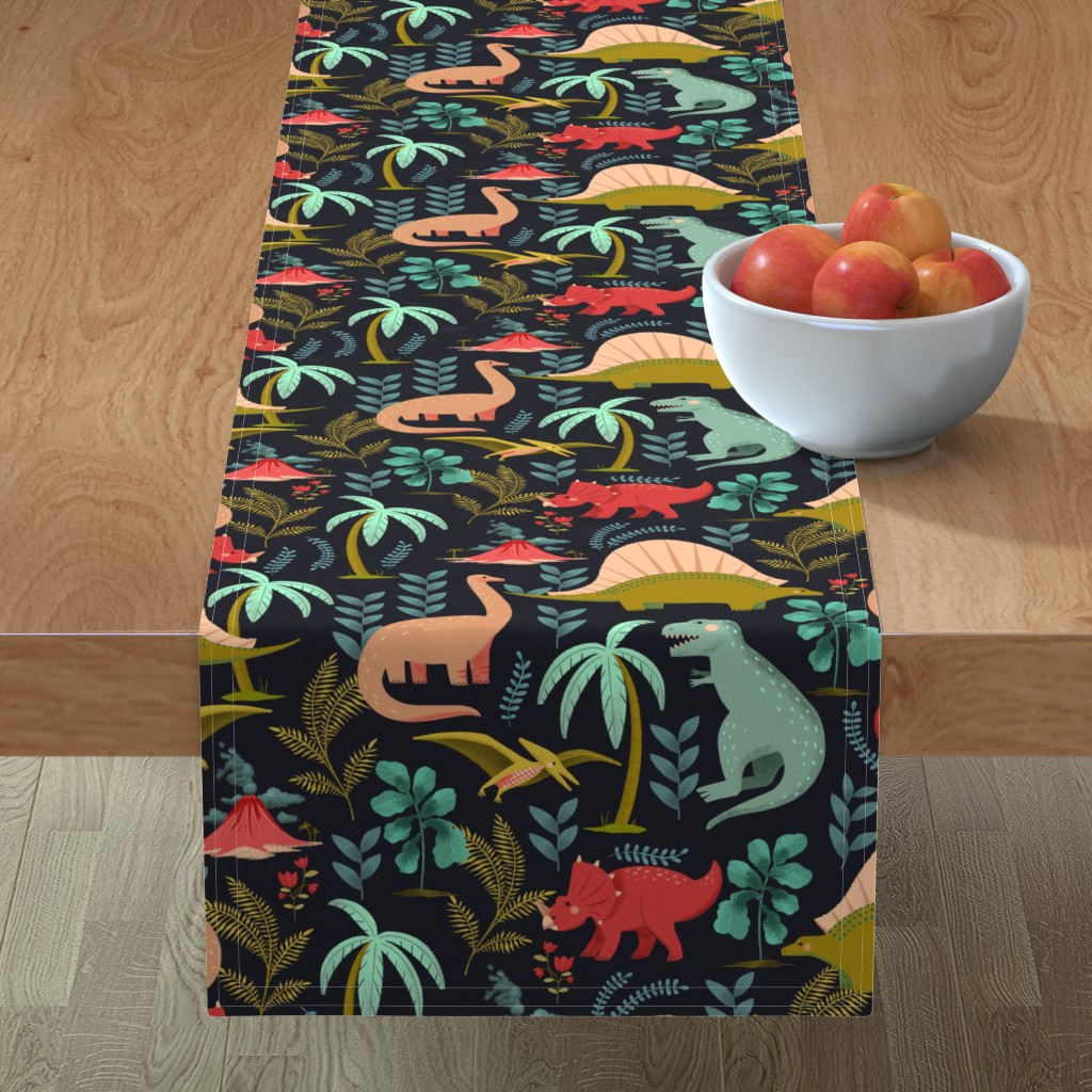 Minorca Table Runner featuring Dinos - Navy by oliveandcompany